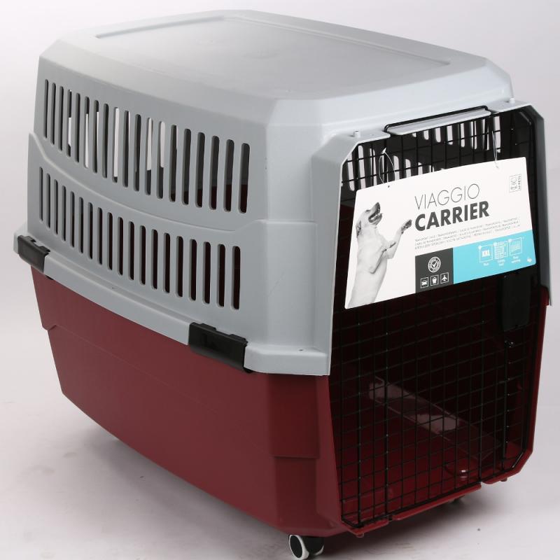 Контейнер-переноска для животных красно-серый с колесами 102*71*76 см